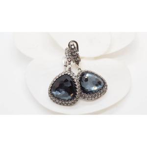 Boucles d'Oreilles En Or Gris ,quartz Noir Facetté Et Diamants