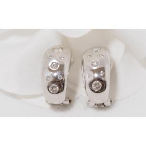 Boucles d'Oreilles En Or Blanc Serti De Diamants