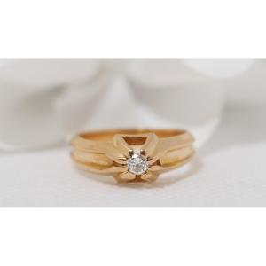 Solitaire Ring In Yellow Gold And Diamond