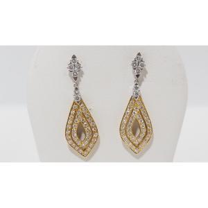 Boucles d'Oreilles En Or Bicolore Et Diamants
