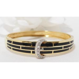 Bracelet  En Or Bicolore; émail Et Diamants