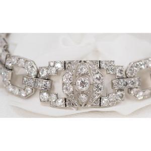 Bracelet Ancien En Platine Et Diamants