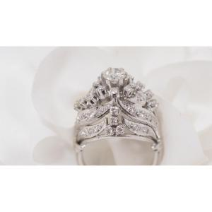 Dome Ring In White Gold And Diamonds