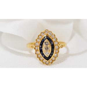 Bague Marquise En Or Jaune, Saphirs Calibrés Et Diamants