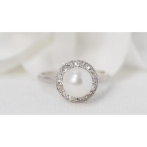 White Gold, Cultured Pearl And Diamond Ring