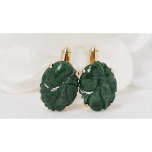 Cufflinks In Yellow Gold And Jade