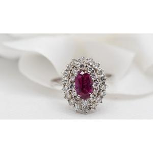 Double Entourage Ring In White Gold, Rubies And Diamonds