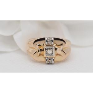 Tank Ring In Gold And Platinum, Set With Roses