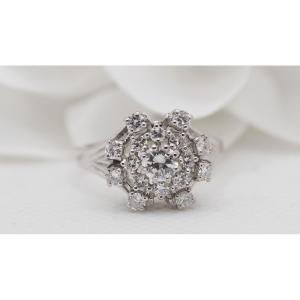 Marguerite Ring In White Gold And Diamonds
