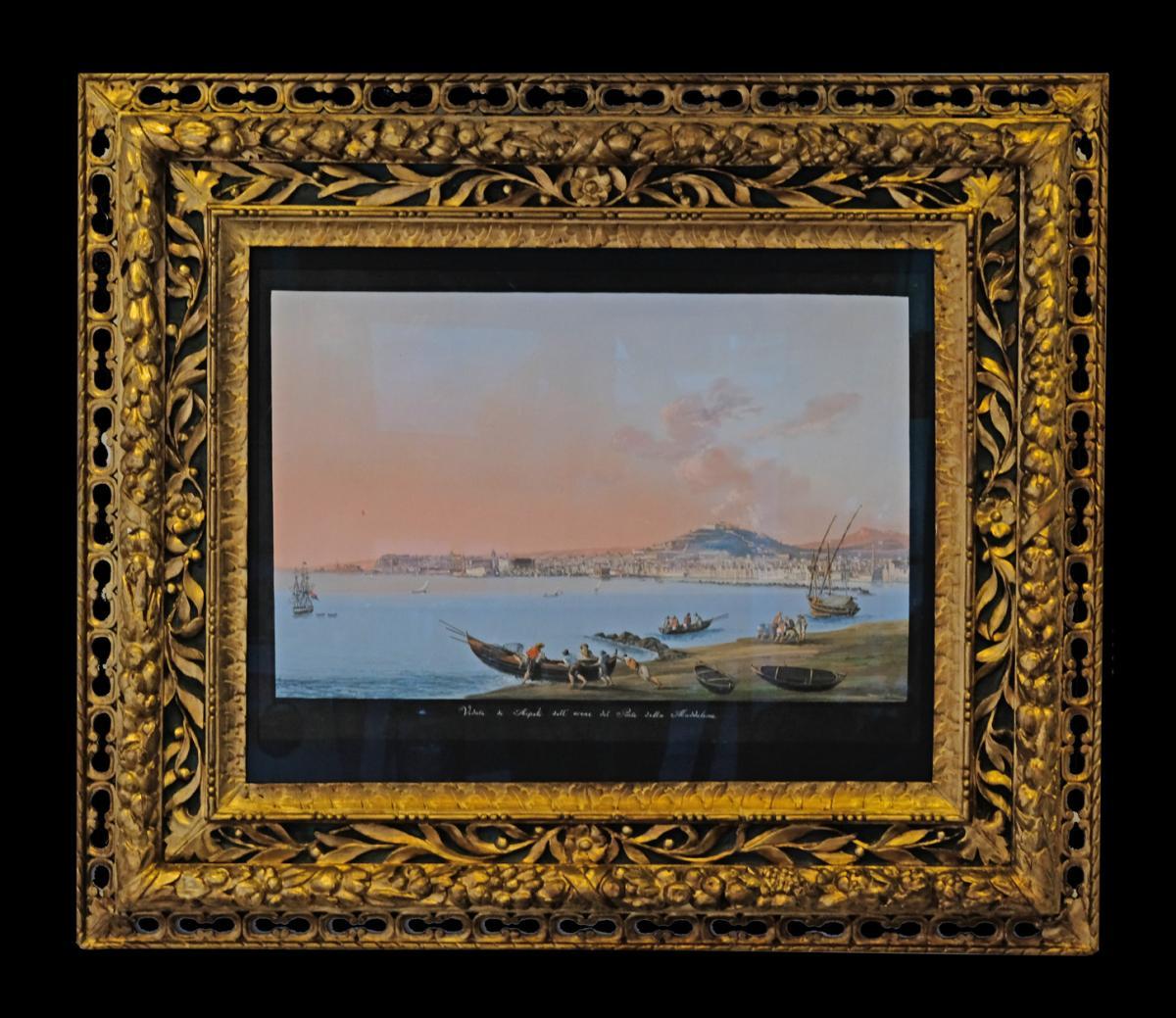 Vue de Naples, gouache sur papier, XIXe