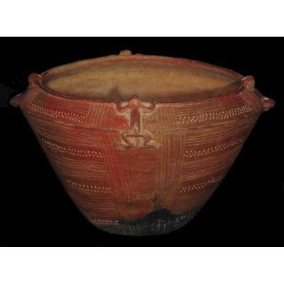 Terracotta Vase With Lizard Decoration - Colombia, Quimbaya (400 To 1400 Ad) - Archeology