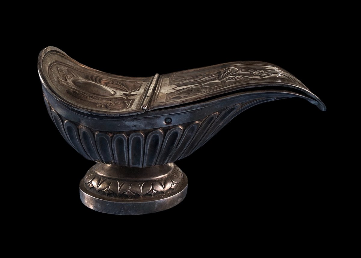 Incense Holder And  Its Spoon In Sterling Silver