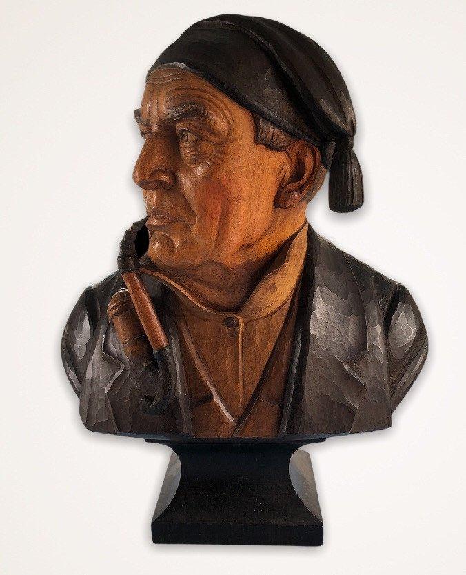Sculpted Polychromed Wood Bust