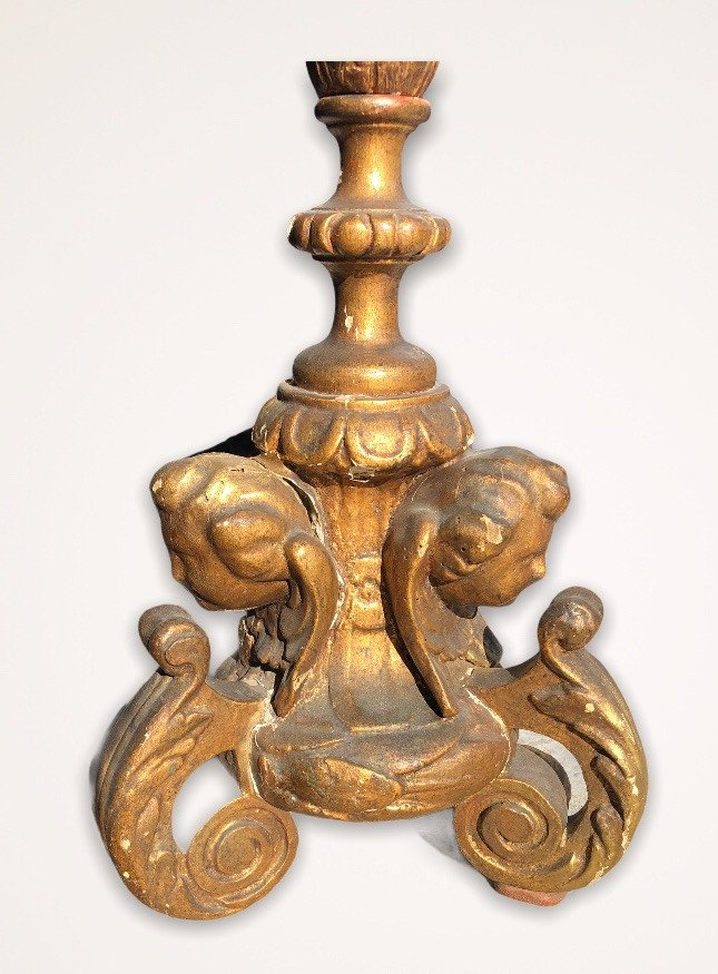 Pique Candle In Golden Wood With Gold Leaf XVIII Century-photo-3