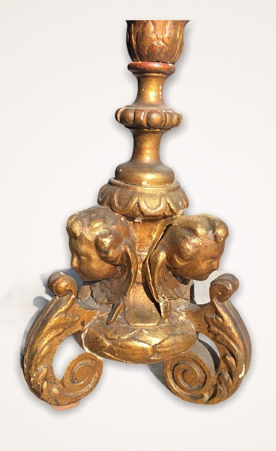 Pique Candle In Golden Wood With Gold Leaf XVIII Century-photo-6