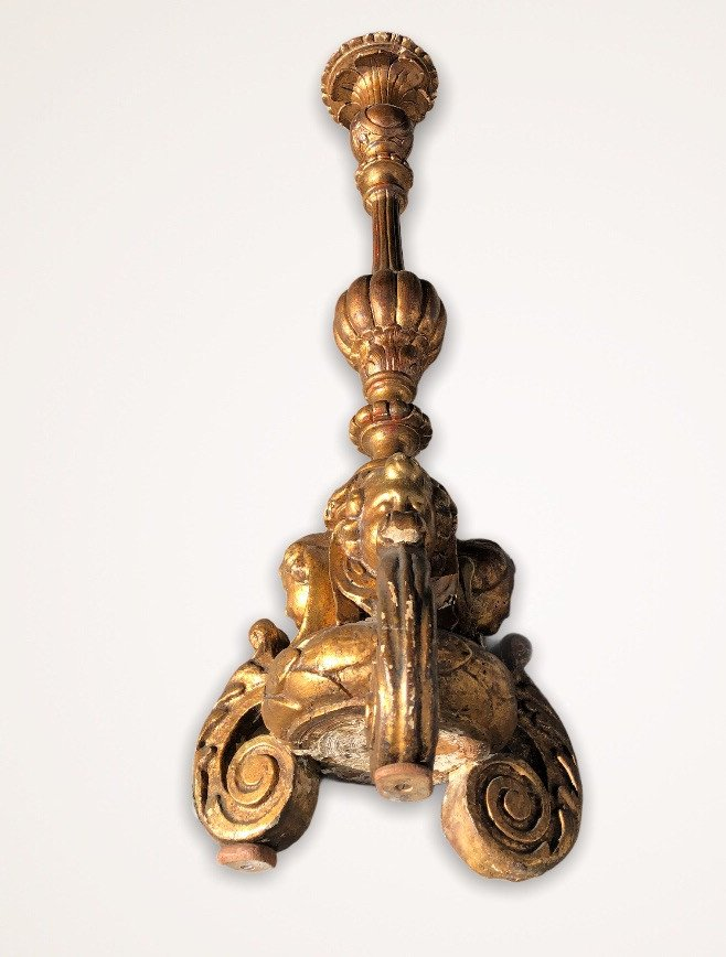 Pique Candle In Golden Wood With Gold Leaf XVIII Century-photo-8