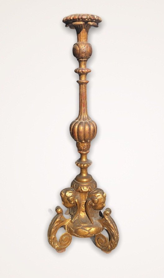 Pique Candle In Golden Wood With Gold Leaf XVIII Century