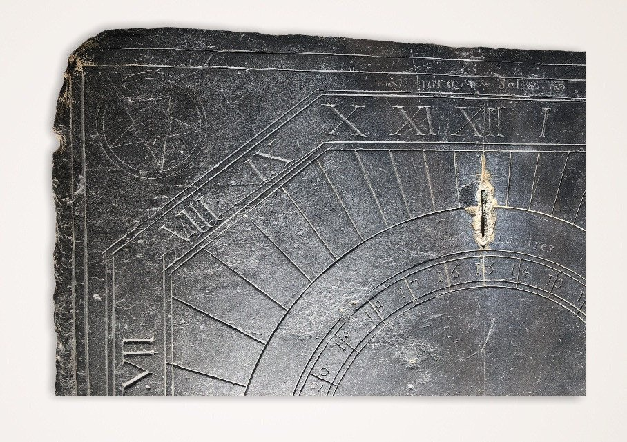 Solar Dial In Slate Dating From The XVIIIth Century Brittany-photo-2
