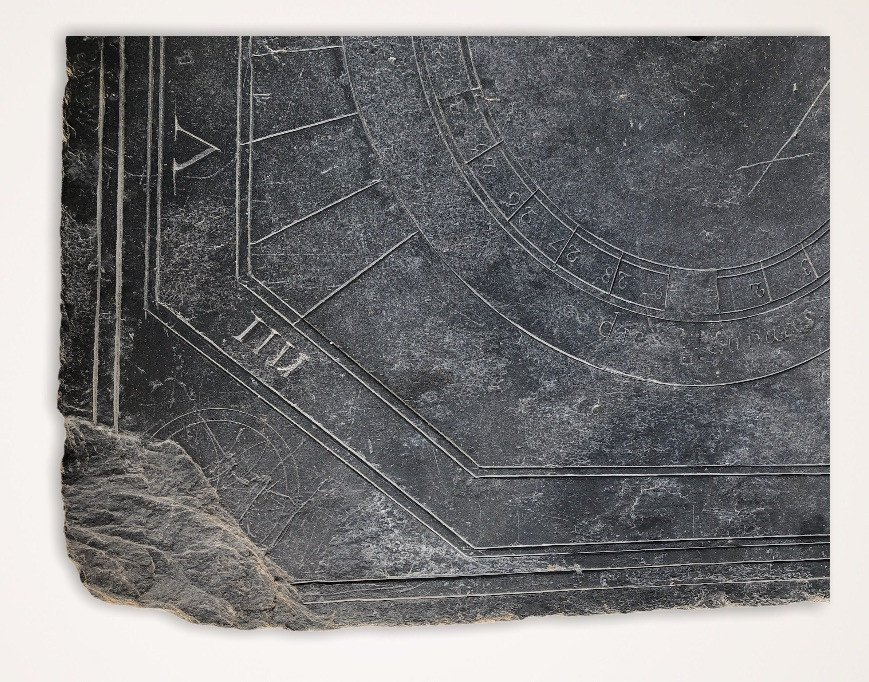 Solar Dial In Slate Dating From The XVIIIth Century Brittany-photo-3