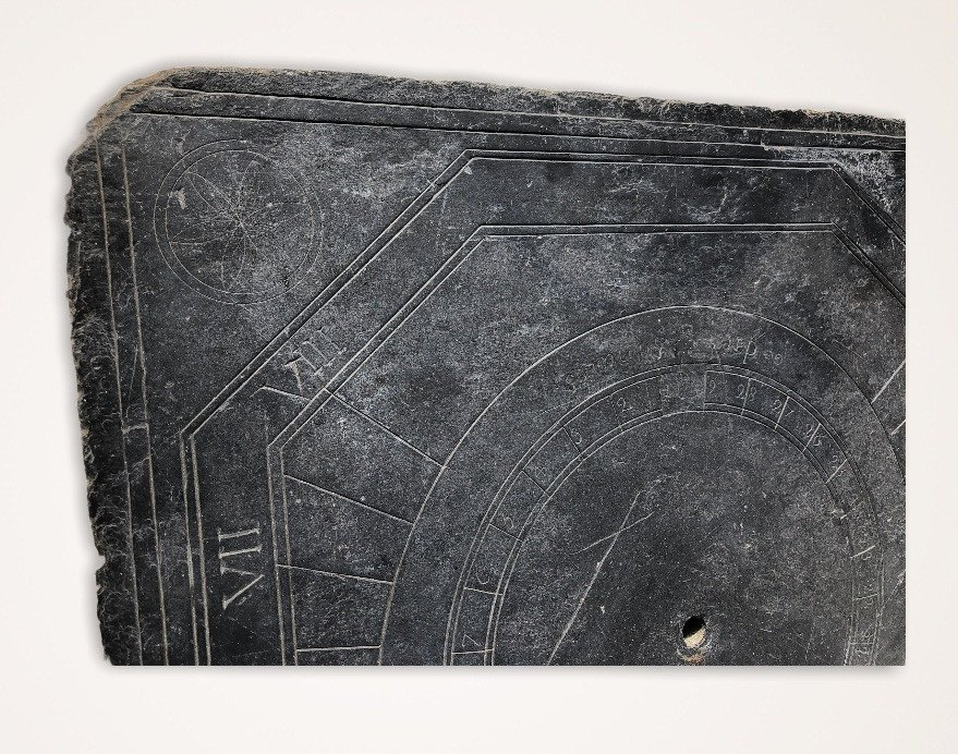 Solar Dial In Slate Dating From The XVIIIth Century Brittany-photo-1