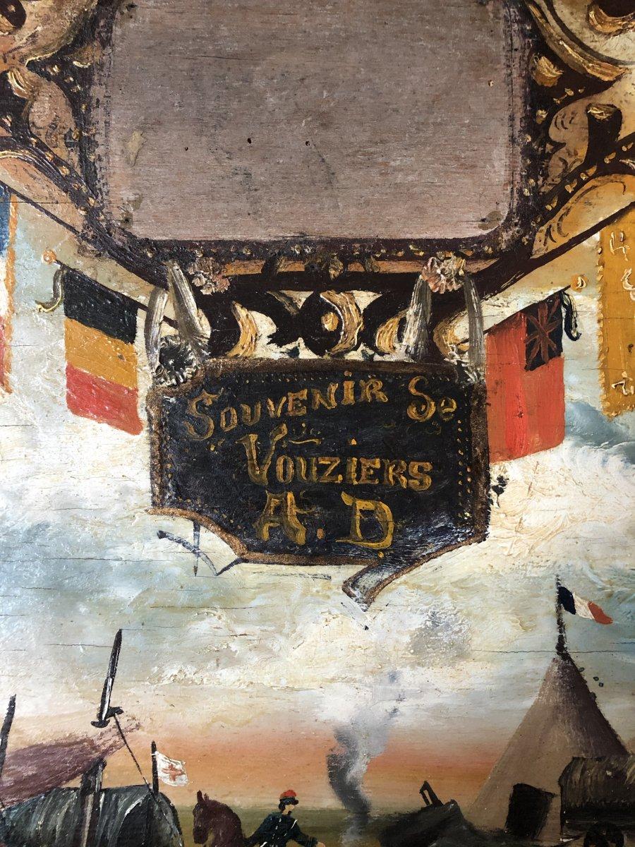 Souvenir De Vouziers Painting On Wood-photo-2