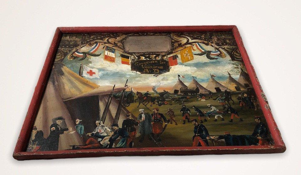Souvenir De Vouziers Painting On Wood-photo-3