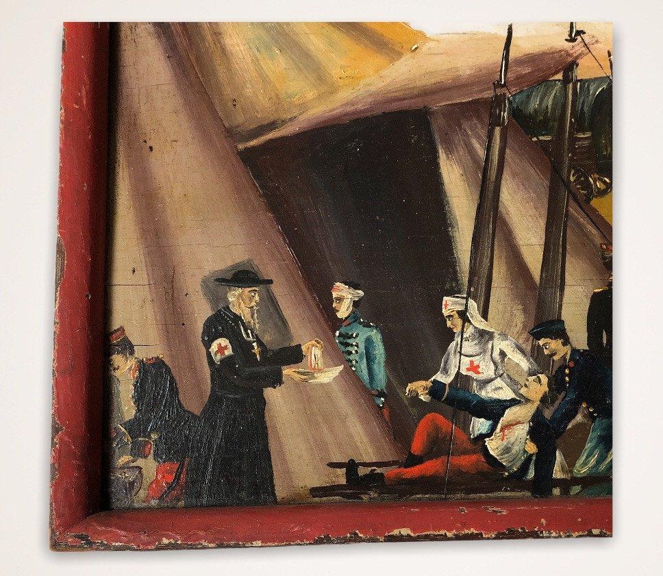 Souvenir De Vouziers Painting On Wood-photo-6