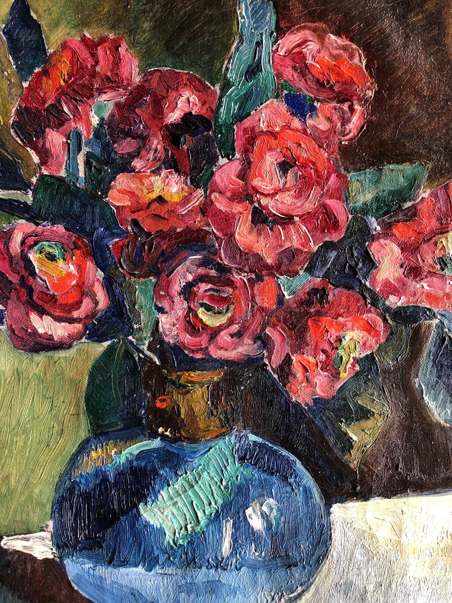 Painting Flower Vase Signed M. Guillain 20th Century-photo-4