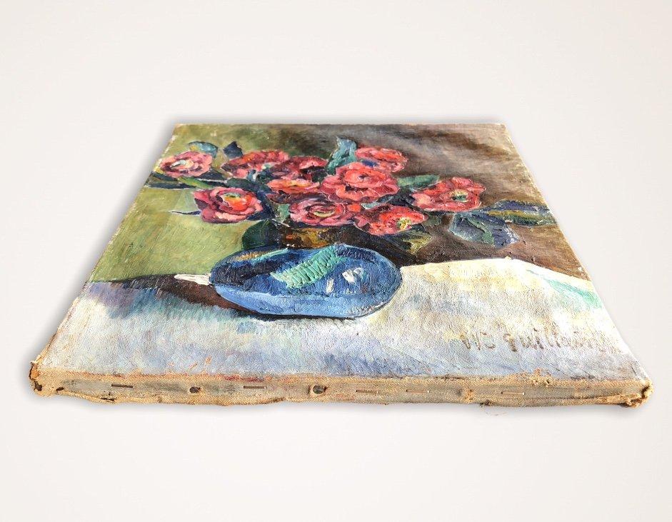 Painting Flower Vase Signed M. Guillain 20th Century-photo-1