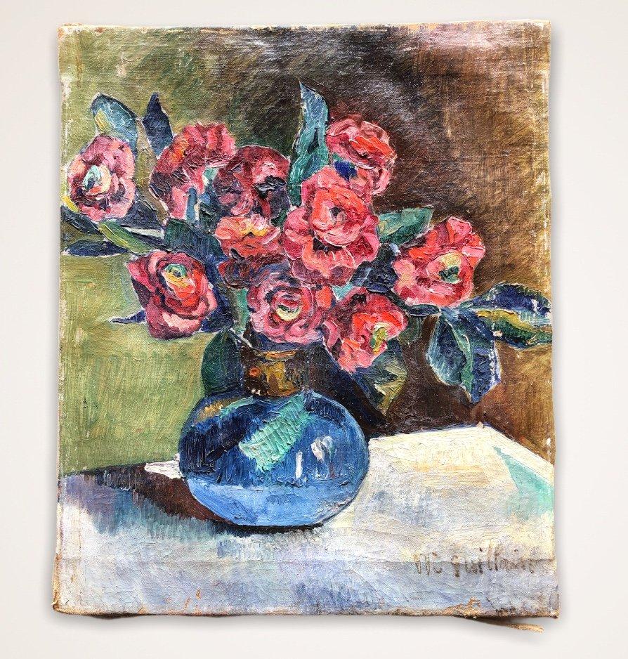 Painting Flower Vase Signed M. Guillain 20th Century