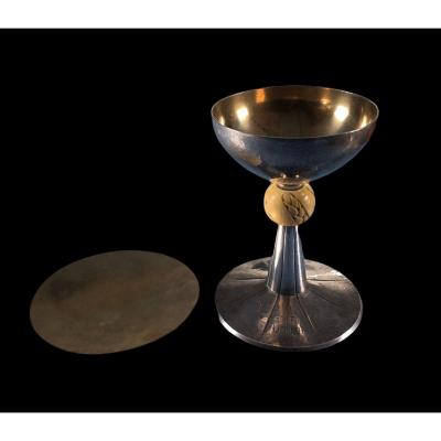 Silver Chalice With Ivory Knot And Paten With Its Wooden Box