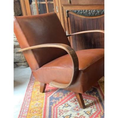 Pair Of 1930s Leather Armchair By Jindrich Halabala