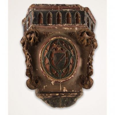 Wooden Wall Bolster With Coat Of Arms