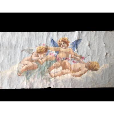 Oil On Decorative Canvas Representing Cherubs (pair)