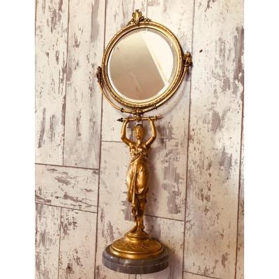 Miroir De Table En Bronze Doré Début 19 Eme