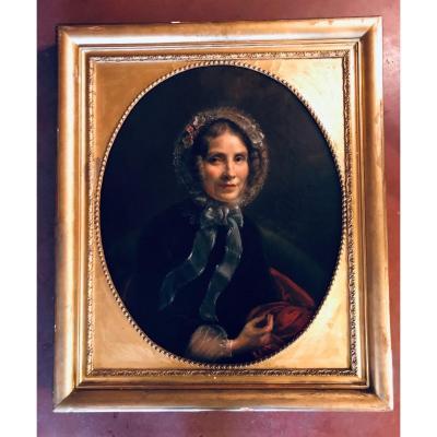 Peinture Portrait De Femme Du XIXe
