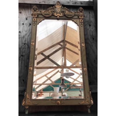 Miroir Empire Laqué Et Doré