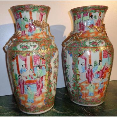Paire De Vase Porcelaine Chine
