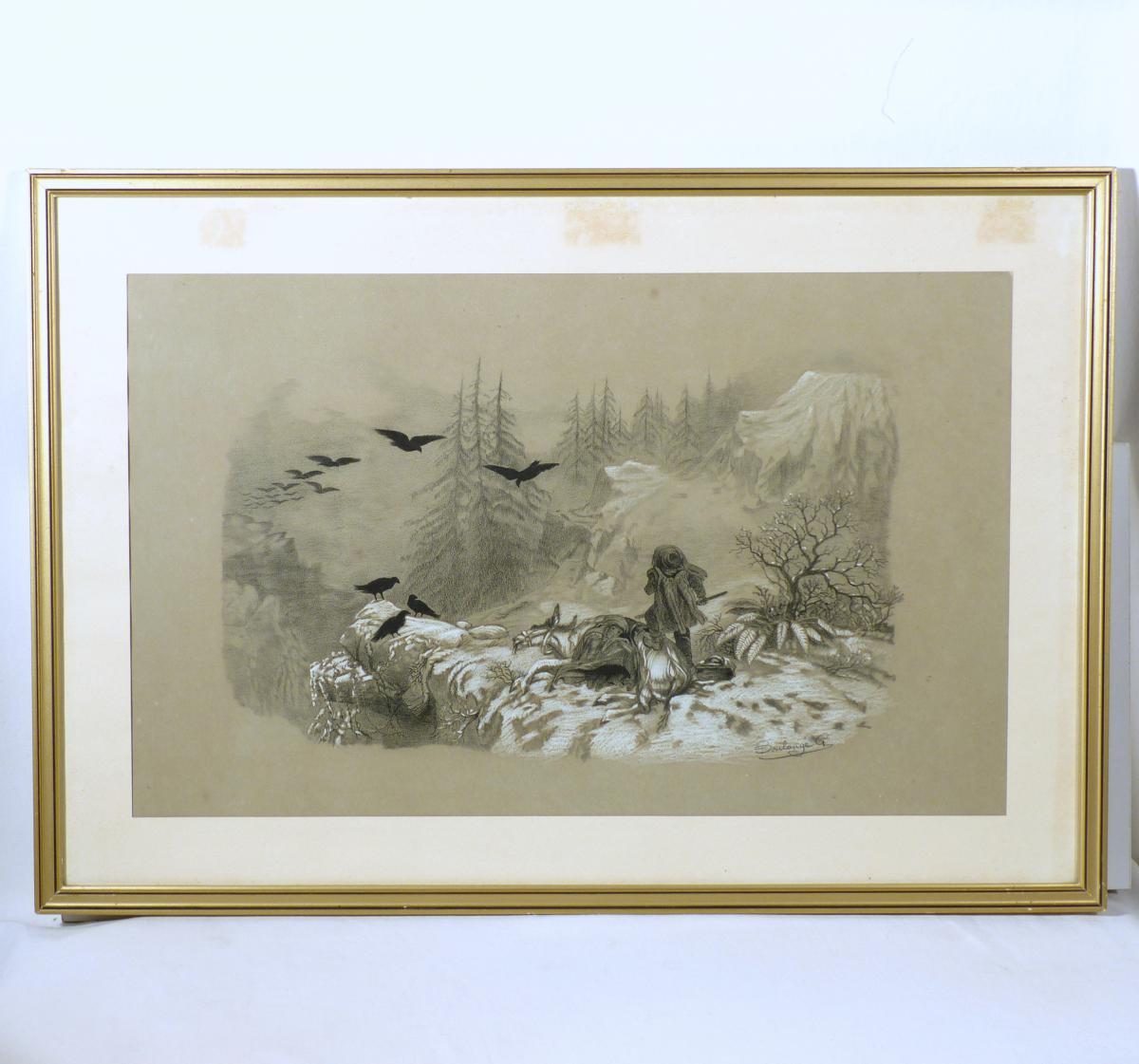 Dessin Pastel Et Fusain «drame En Montagne» Vers 1880