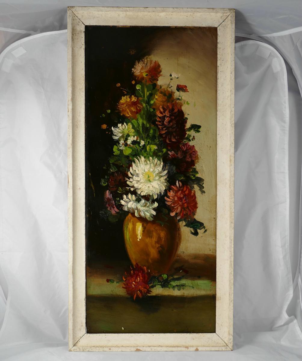 Huile Sur Carton, Bouquet De Dahlias, Début XXème.