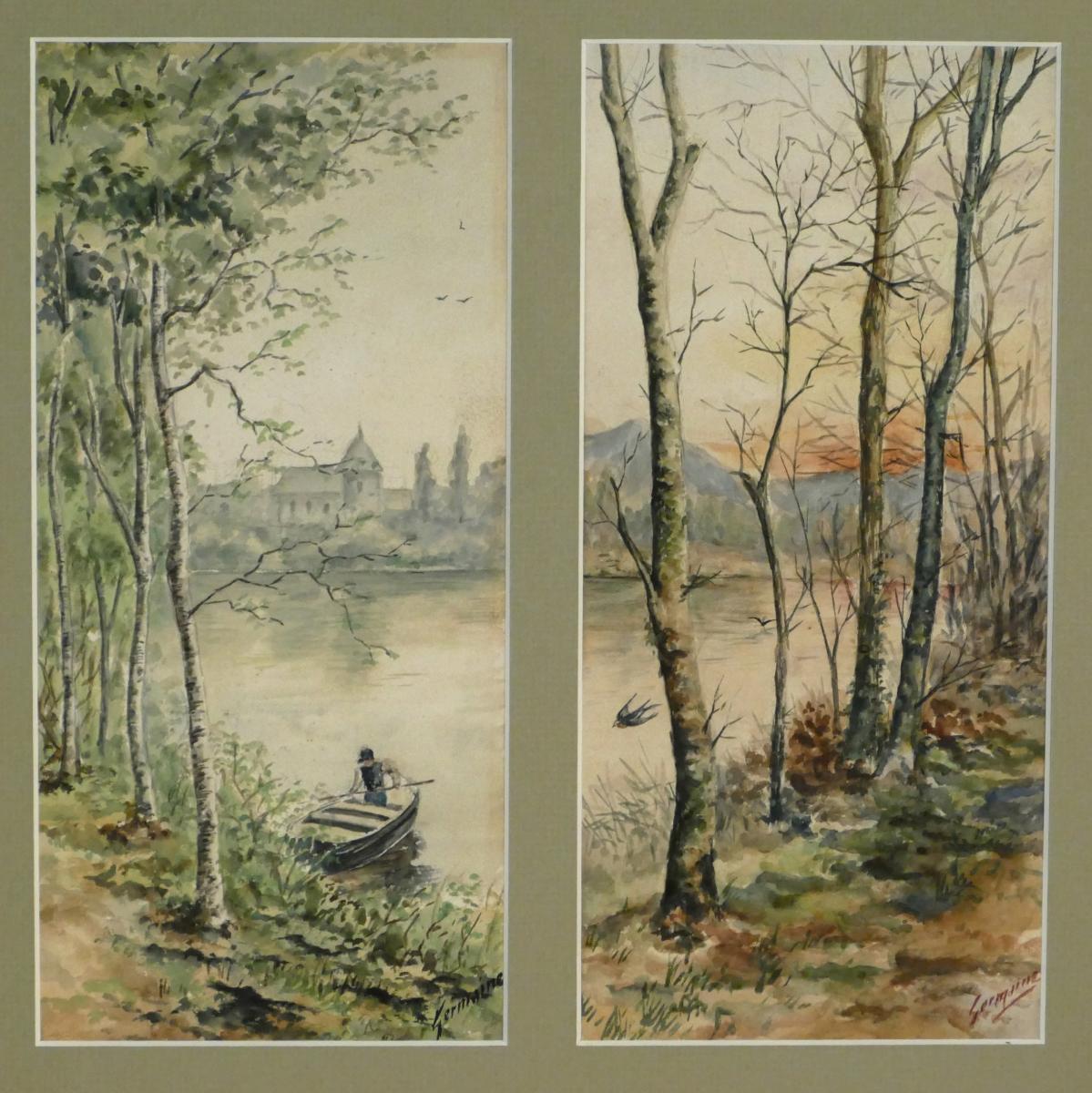 Aquarelle «pêcheur Et Hirondelles», Diptyque Signé XXème.