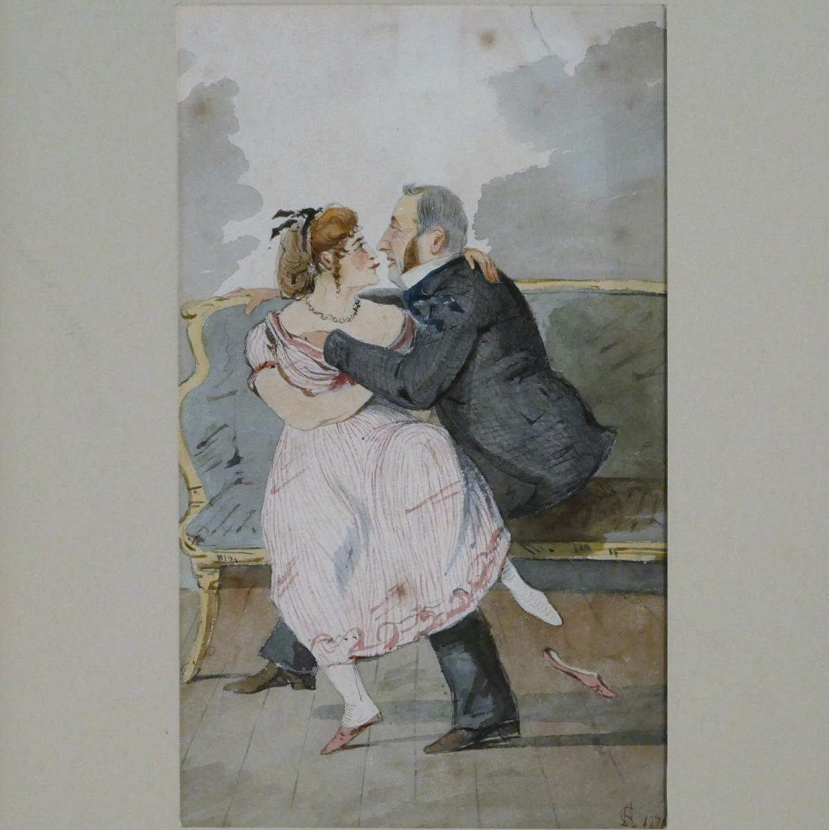 Caricature d'Un Couple Bourgeois 1871 Dessin Aquarelle.