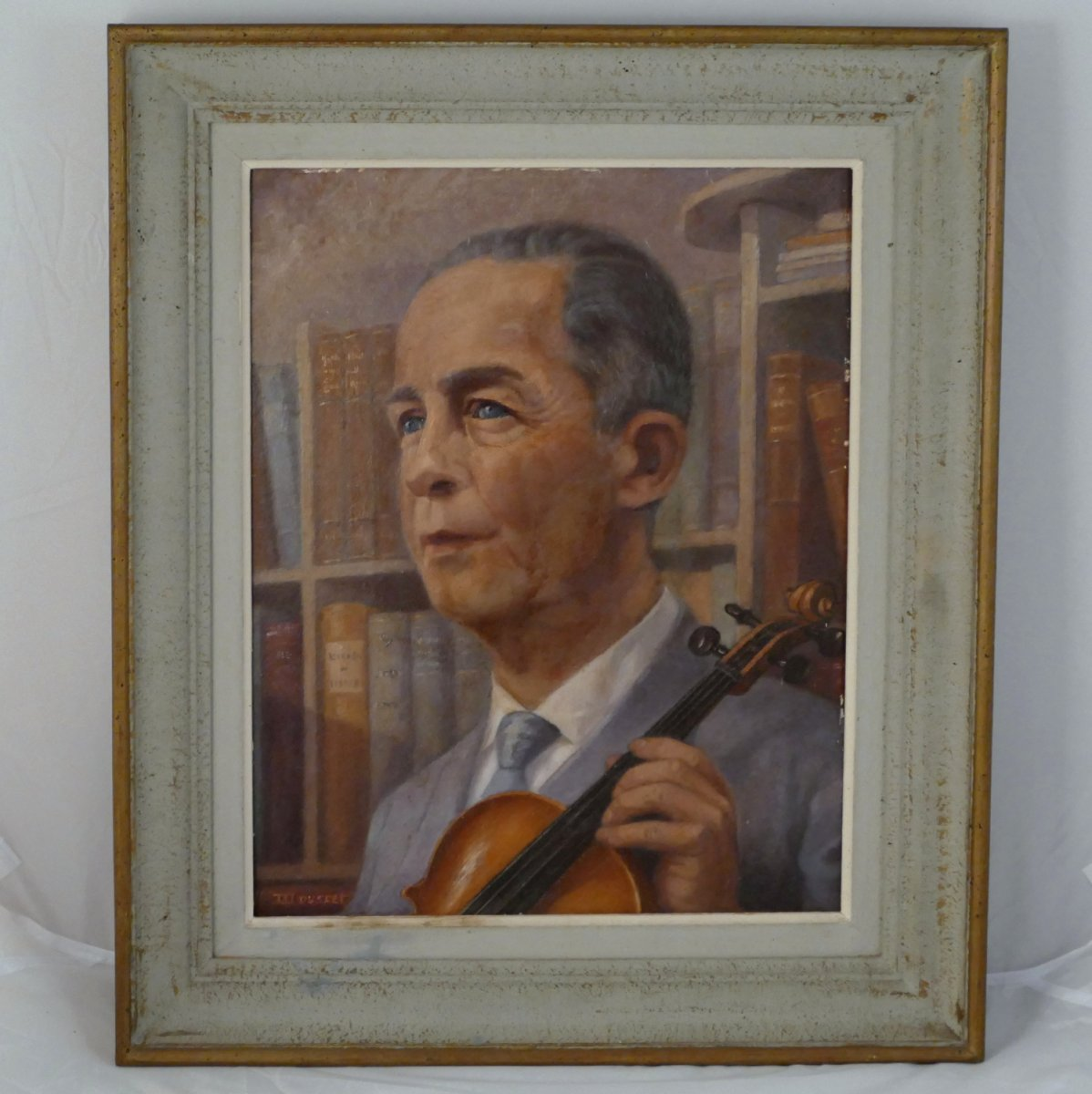Portrait Of Man With Violin In His Library, Oil 1950 By Henri Dousset.