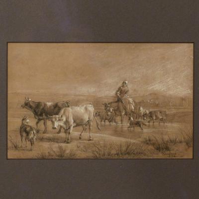 Antoine DUCLAUX, Pastorale, dessin 1852.