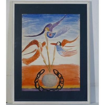 Anna Aguilera, «la Victoire», Grande Peinture Sur Papier 1945.