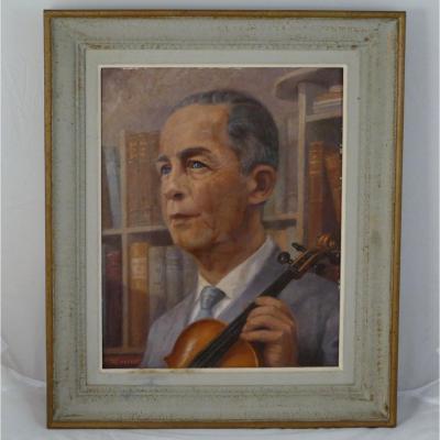 Portrait d'Homme Au Violon Dans Sa Bibliothèque, Huile 1950 Par Henri Dousset.