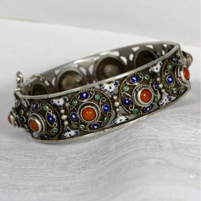Berber Openwork Bracelet, Coral And Enamel Decor.