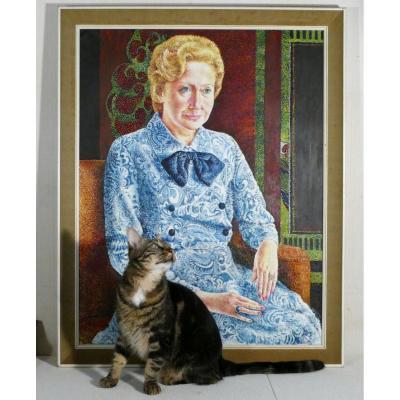 Portrait d'Une Dame à La Robe Bleue, Grande Huile Sur Toile, 1973.