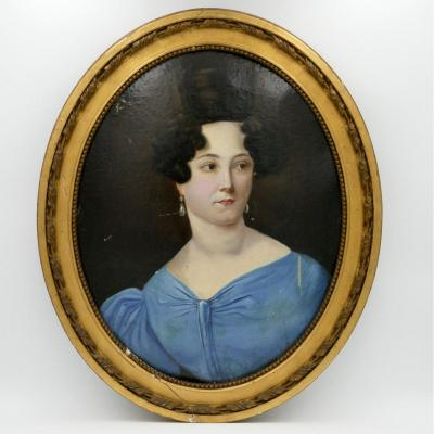 """""""portrait Of A Young Woman In A Blue Dress"""", 1830, Oil On Cardboard."""