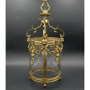 Grande Lanterne De Style Louis XVI En Bronze Doré, Milieu XXè
